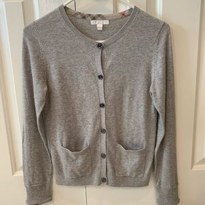 Burberry Gray Cashmere Blend Cardigan Sweater